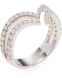 Nephora - 14k White Gold & 0.70 Total Ct. Diamond Curve Ring - Lyst