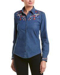 The Kooples Embroidered Top - Blue