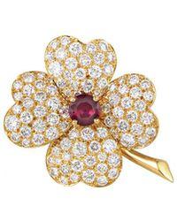 Heritage Van Cleef & Arpels - Van Cleef & Arpels 18k 5.25 Ct. Tw. Diamond & Ruby Brooch - Lyst