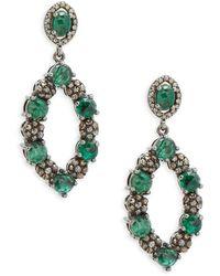 Bavna - Champagne Diamond, Emerald & Sterling Silver Champ Rose Earrings - Lyst