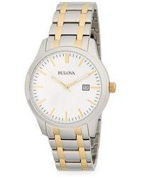 Bulova - Two-tone Stainless Steel Link Bracelet Watch - Lyst