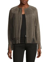 ThePerfext - April Solid Fringed Leather Jacket - Lyst