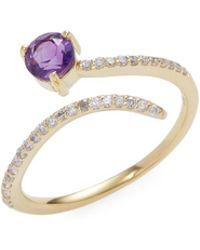 Danni | 14k Yellow Gold Amethyst & Diamond Spiral Ring | Lyst