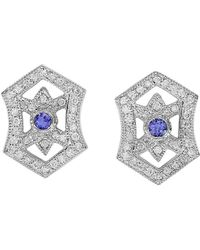 Effy - Fine Jewellery 14k 0.83 Ct. Tw. Diamond & Tanzanite Earrings - Lyst