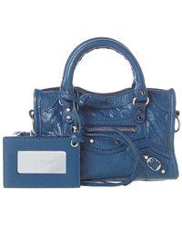 a72bacb020 Balenciaga Classic Silver City Nano Leather Shoulder Bag in Green - Lyst