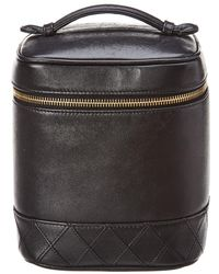 Chanel - Black Quilted Lambskin Leather Vertical Cosmetic Case - Lyst