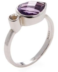 Anzie - Sterling Silver, Amethyst & White Topaz Classique Double East West Large Stackable Ring - Lyst