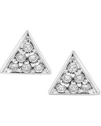 KC Designs | Triangle Diamond And 14k White Gold Stud Earrings | Lyst