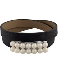 Majorica - New Isla 6mm White Pearl & Leather Bracelet - Lyst