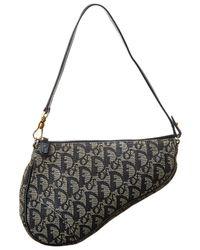 Dior Navy Trotter Canvas Mini Saddle Bag