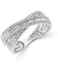 Effy - Fine Jewellery 14k .67 Ct. Tw. Diamond Crisscross Ring - Lyst