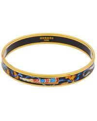 Hermès Printed Enamel Narrow Bangle - Metallic