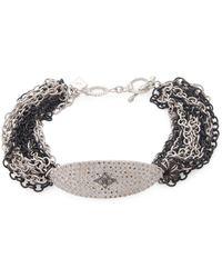 Armenta - Sterling Silver Oval Diamond Chain Bracelet - Lyst