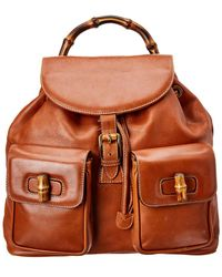 7a47dfd0b609 Gucci - Brown Leather Large Bamboo Backpack - Lyst