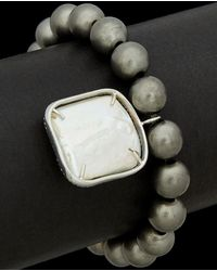 Meira T - Silver Plated 23.97 Ct. Tw. Diamond & Mother-of-pearl Stretch Brace - Lyst