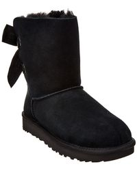 UGG Women's Customizable Bailey Bow Short Suede Boot - Black