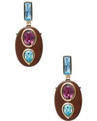 Oscar de la Renta - Wooden Crystal Earrings - Lyst
