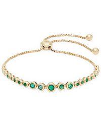 Saks Fifth Avenue - Emerald, Diamond And 14k Yellow Gold Bracelet - Lyst