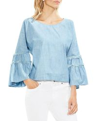 Vince Camuto - Extended Shoulder Tiered Bell Sleeve Chambray Blouse - Lyst