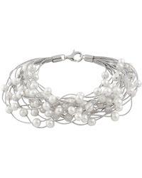 Splendid - Rhodium Plated Silver 6-7mm Pearl Bracelet - Lyst