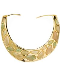 Kenneth Jay Lane | Polished Gold/jade Faceted Stones Bib Necklace | Lyst