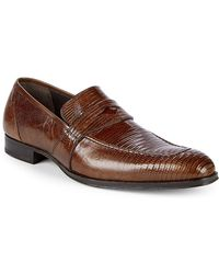 Mezlan - Textured Leather Penny Loafers - Lyst