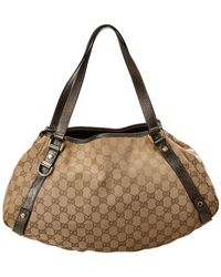 Gucci - Brown Gg Supreme Coated Canvas & Leather Abbey Tote - Lyst