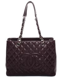 Chanel - Burgundy Quilted Caviar Leather Grand Shopping Tote - Lyst