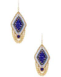 Miguel Ases | Beaded Geometric Diamond Drop Earrings | Lyst