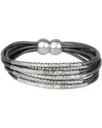 Saachi - Genuine Leather Twisted Tubes Bracelet - Lyst