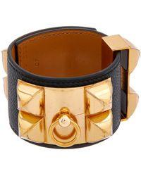 Hermès - Black Epsom Leather Collier De Chien Cuff Bracelet - Lyst