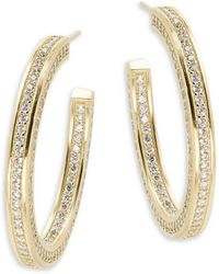 Freida Rothman - Classic Radiance Cubic Zirconia & 14k Gold-plated Sterling Silver Hoop Earrings- 1.5in - Lyst