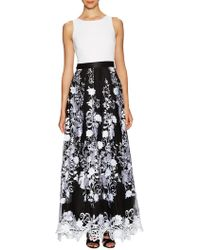 Aidan Mattox - Sleeveless Jersey Body With Embroidered Lace Skirt - Lyst