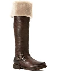 91575331ff7d Lyst - Frye Valerie Pull On Shearling in Brown