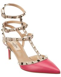 Valentino Rockstud Caged 65 Leather Ankle Strap Pump - Pink