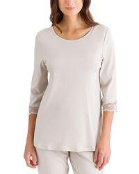 Hanro - Valencia 3/4-sleeve Crop Pajama - Lyst