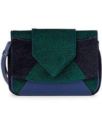 DANNIJO - Rocha Velvet & Leather Colorblock Clutch - Lyst