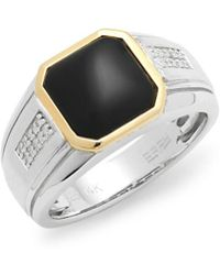 Effy - Diamond, Onyx, 14k Yellow Gold And 925 Sterling Silver Ring - Lyst