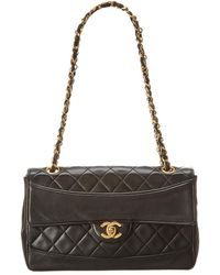 Chanel - Black Quilted Lambskin Leather Small Single Flap Bag - Lyst