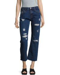 Earnest Sewn - Victoria Distressed Cropped Jeans - Lyst