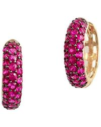 Effy - Natural Ruby & 14k Yellow Gold Hoop Earrings - Lyst