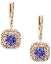 Effy - Diamond, Tanzanite & 14k Rose Gold Flower Drop Earrings - Lyst