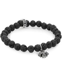 King Baby Studio - Lava Rock & Sterling Silver Beaded Cross Bracelet - Lyst