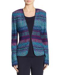 St. John - Collarless Wool Jacket - Lyst