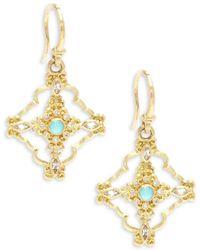 Armenta - Sueno Diamond, Sapphire, Blue Reconstituted Turquoise, Rainbow Moonstone & 18k Yellow Gold Drop Earrings - Lyst