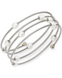 Alor - Classique 1.6mm White Round Freshwater Pearl, 18k White Gold & Stainless Steel Bracelet - Lyst