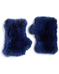 Surell - Rabbit Fur Fingerless Gloves - Lyst