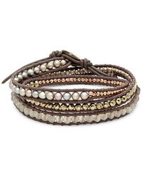 Chan Luu - Beaded Leather Wrap Bracelet - Lyst