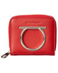 Ferragamo - Small Gancini Leather Zip Around Wallet - Lyst