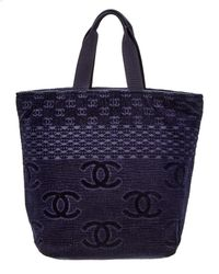 Chanel Navy Terry Large Cc Tote Lyst